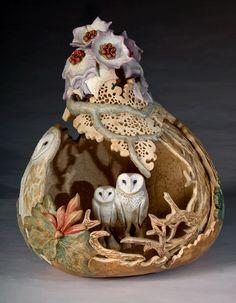 sculptures, artists, gourd art, nature, carv, carol kroll, gourds, owls, art gourd