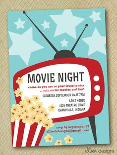 movie night party invite