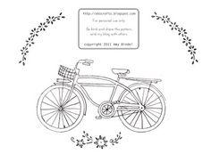 Awesome bicycle FREE embroidary pattern