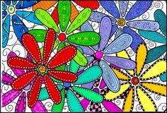class projects, flower art, elements of art, sharpie art, flower power