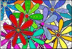 """Fun Fridays""  art class project! class projects, flower art, elements of art, sharpie art, flower power, elementary art, mothers day cards, bright colors, art projects"