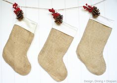 Simple Burlap Christmas Stockings - Design, Dining + Diapers