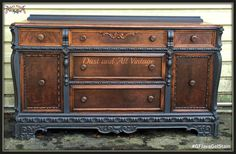 This buffet is a real head turner!  Dust and All Vintage, https://www.facebook.com/DustAndAll?fref=ts, achieved that beautiful look on the drawers and top with General Finishes Java Gel Stain.  Gorgeous! #generalfinishes #javagelstain #gfstyle