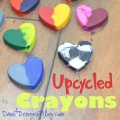 Upcycle Crayons into colorful hearts with Davet Designs, featured @totgreencrafts