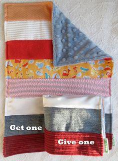 Baby Boy Sensory Security Blanket  Lovey - beep beep - Get One Give One to babies in Kenya, $30.00