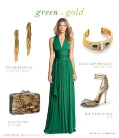 green and gold wedding look