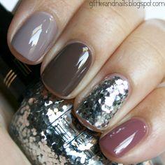 Neutrals and glitter nails.