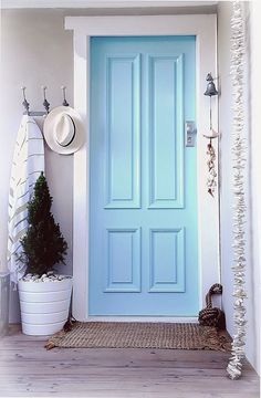 painted blue door
