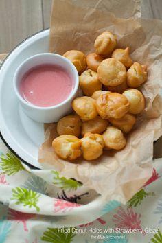 Fried Donut Holes with Strawberry Glaze