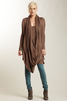 Covet Long Sleeve Wrap Around Scarf Sweater Tunic