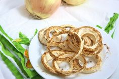 The World's Healthiest Onion Rings - gluten free, grain free, low carb, vegan, and less than 130 calories for the entire gigantic plate full.