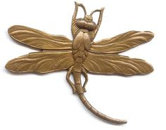 59018  Vintage Swirling Dragonfly Pendant  Our vintage brass swirling dragonfly is not only extremely detailed, he is finished with a lovely chocolate patina plating.  Surely it is an interesting focal or pendant, but this piece is very versatile.  The wings can be bent and wrapped around a large gemstone, the tail can be bent to form a bail and so on.  You can even embellish cards or scrapbooks with this one-sided cutey!