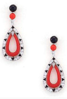 French Art Deco Coral, Diamond, Onyx + Platinum Earrings 1920's