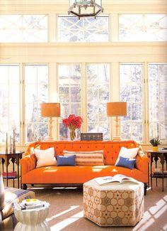 Love the Hermes orange sofa.  delightbydesign.blogspot.com