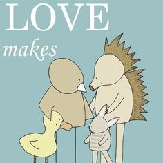 Nursery Art Print Adoption Print (Love Makes a Family)