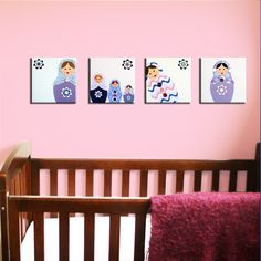 Matryoshka Dolls paintings. 4 Russian Babushka dolls pictures on canvas for baby nursery. Girls colors purple, pink & white