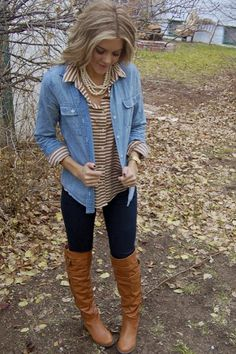 Pearls, layered button ups, denim, and boots