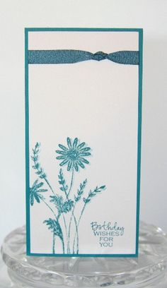 Birthday Wishes Blue Flowers Hand Made Card, Happy Birthday Floral Stamped Card on Etsy, $4.25
