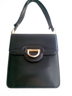 1970  LEATHER BAG  black patent / shoulder by lesclodettes on Etsy