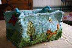 craft, garden bag, knit basket, felt bag, felt easter