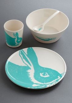 Hare to There Dish Set - White, Pastel, Blue, Print with Animals
