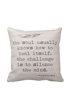 Pillow Cover The Soul Knows Inspirational Cotton
