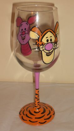 Hand Painted Tigger and Piglet Wine Glass Winnie by JordanFeesArt, $30.00