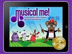 IPad App - Musical Me - teaches children about notes, rhythm,  pitch, and instruments.