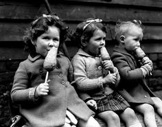 War rationing – carrots on a stick war rationing was just a  way of life during World War Two in the UK. One of the luxuries  to hit the rationing list was sugar and with no sugar, there was no ice cream.  But the official wartime substitute for ice-cream was a carrot on a stick.  Many British children born just before the war didn't discover  what ice-cream actually was until the war was over and  the rationing stopped. The photos are from 1941