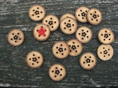 """Bamboo Star Buttons: """"The ten holes in each button are left empty so that you can embroider the stars into them with your own needle and yarn or embroidery thread. """""""