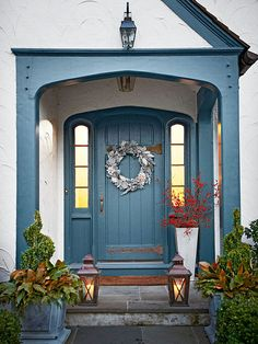 Paint a front door to match a home's trim for a cohesive look. More ideas: http://www.bhg.com/home-improvement/door/exterior/exterior-door-ideas/?socsrc=bhgpin041513bluedoor=15