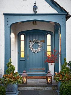 front porch design, lantern, blue doors, focal points, front doors, exterior doors, door decorating, front door colors, front porches