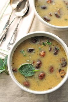 White Bean and Roasted Mushroom Soup