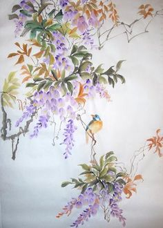 one stroke painting | As I Draw Them ...: Chirping Birds and Fragrant Flowers (Wisteria) Strokes Painting, Chirping Birds, Strokes Art, Strokes Ideas, Decorative Painting, Decoupage, Flowers Art, Decor Painting, One Stroke Painting Flowers