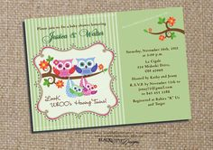 Boy and Girl twin owl invite