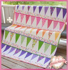 sew, blanket, patterns, quilt kits, pennant quilt, quilts, kit featur, rainbow colors, holli holderman