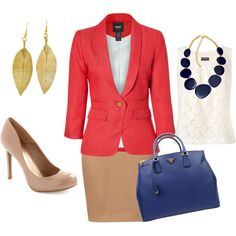 Coral blazer beige pencil skirt navy blue bag nude shoes. Summer work outfit.