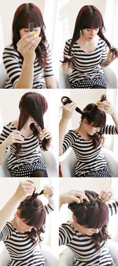 {stripes + knots} I don't have long hair now, but when I did, I used to put it in knots!