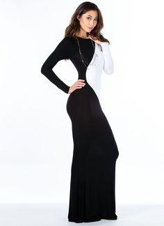 Contrast Inset Mermaid Maxi Dress