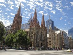 St Paul's Cathedral at Federation Square, Melbourne, Australia