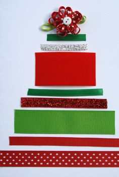 Ribbon Christmas Tree Craft for Kids...we used these for the cover of our Christmas cards last year. You can also incorporate patterning, sorting by length, and counting.
