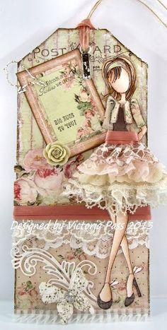 Sticky With Icky: My Crafty Heart Prima Doll lace, beauti skirt, juli nut, skirts, prima dolls, crafti heart, card, prima doll tags, prima doll stamps