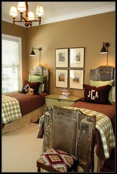 Boys Room: Twin beds, burgundy, sage and cream bedding, wall sconces over headboards, vintage chandelier
