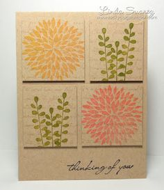 handmade card ... kraft ... four popped panels ... single colored ink stamping of large or fern fronds on each squre ... delightful!!