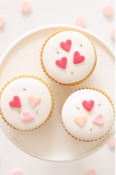 little hearts cupcakes.