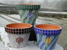 free mosiac patterns   Mosaic Plant Pots from Heather Cottage, Aysgarth