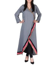 Grey Cotton Angarkha Tunic