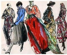 artists, yves saint laurent, fashion sketches, couture, fashion art