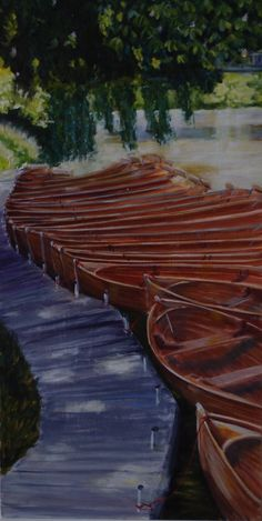 A line-up of lovely rowing boats outside the Boathouse restaurant at Dedham in Suffolk. This painting is really just a study for a larger version.