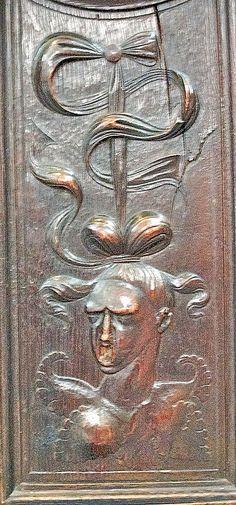 Detail of Anne Boleyn, beheaded by King Henry VIII, inside King's College Chapel.